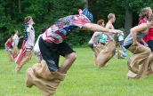 Sack race for teens and adults.