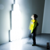 """monument for V. Tatlin\"" by Dan Flavin, 1966, in exhibition: \""Los Angeles to New York: Dwan Gallery, 1959-1971.\"""