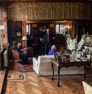 Tea in the library at Tissington Hall
