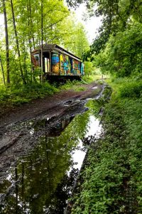 abandoned railcar near New Hope, Pennsylvania, along the Delaware River