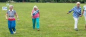 The oldest women have the good sense to walk. There were no men in the 80 and over foot race.