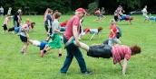 Wheelbarrow race.