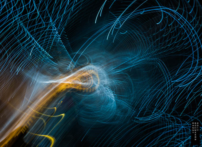 "Visitors enter thru Leo Villareal's constantly changing light installation ""Multiverse""."