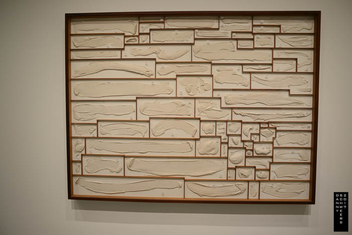 """""""Pigeon Holes"""" by Roxy Paine, 1997, in exhibition: """"Los Angeles to New York: Dwan Gallery, 1959-1971."""""""