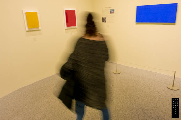 """""""Untitled Monogold"""" 1961, """"Untitled Pink Monochrome"""" 1961, and """"Untitled Blue Monochrome"""" 1960 by Yves Klein, in exhibition: """"Los Angeles to New York: Dwan Gallery, 1959-1971."""""""