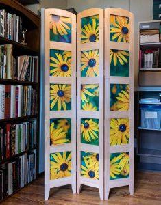 Black-eyed Susan hardwood room divider by Danny N. Schweers